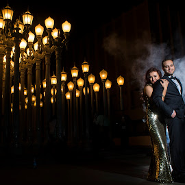 Smokey Urban Lights by Yansen Setiawan - Wedding Bride & Groom ( urban lights, lovers, wedding, couple, lacma, smoke, engagement )