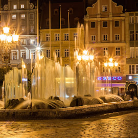 Night in Wroclaw by Anatoliy Kosterev - City,  Street & Park  Historic Districts ( fountain, city, street, night, lights )