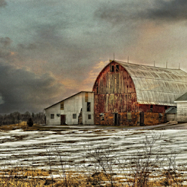 by Michael Priest - Digital Art Places ( wisconsin, sky, country, sunrise, barn, sunset,  )