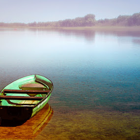 summer landscape with boat by Tomasz Marciniak - Landscapes Waterscapes ( summer, lake, boat,  )