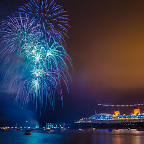 Long Beach by Keith Cook - Public Holidays July 4th ( orange, long beach, purple, queen mary, independence, fire works, forth of july,  )