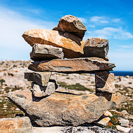 Cairn by Richard Michael Lingo - Nature Up Close Rock & Stone ( close-up, rocks, nature, newfoundland, cairn )