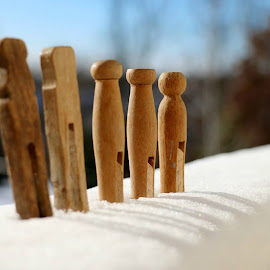 Family by Dawn Moder - Artistic Objects Clothing & Accessories ( clothespin, sunny, snow, close up )