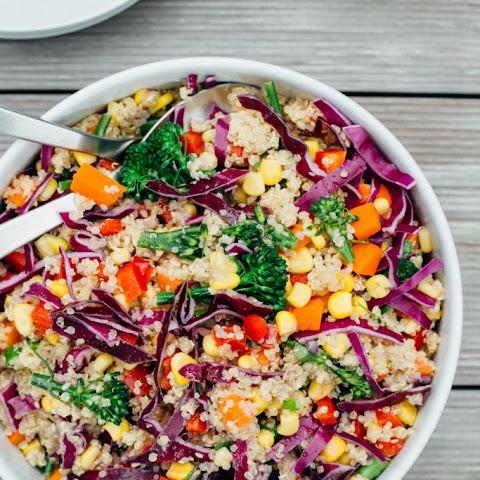 Over the Rainbow Salad with Tahini and Lemon Dressing Recipe | Yummly