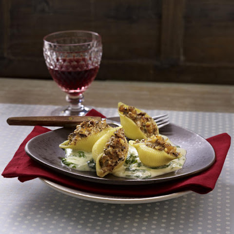 Three Cheese Stuffed Shells With Creamy White Sauce Recipes ...
