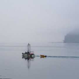 Boat on a Calm Sea by Keith Sutherland - Uncategorized All Uncategorized ( calm sea, islands, fishing boat, alert bay, scenic, fog )