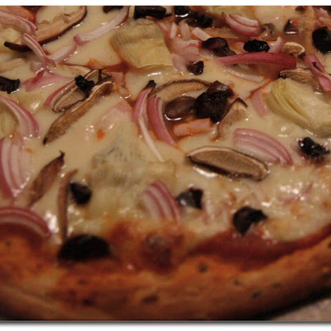 Artichoke and Red Onion Vegan Pizza