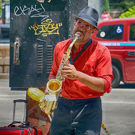 Sax in the City by Alycia Marshall-Steen - People Musicians & Entertainers ( music, street musician, street music, saxophone, sax man,  )