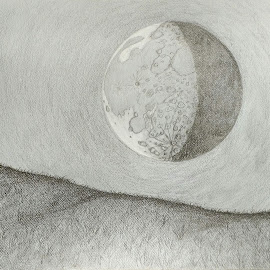 Waning gibbous by Carlos Gramajo - Drawing All Drawing ( waning moon, prairie with moon, gibbous moon, prairie )