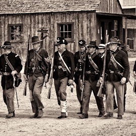 Union Army Marching by Dave Lipchen - People Musicians & Entertainers ( old buildings, marching, union army, civil war re-enactment )