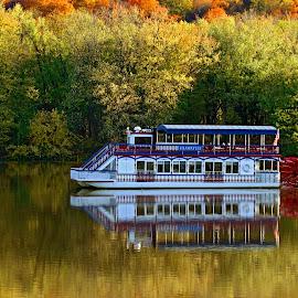 Hiawatha On The Susquehanna by Gene Walls - Transportation Boats ( water, reflection, stream, paddlewheel, fall foliage, williamsport, pennsylvania, boat, crusing, cruise, mirror, susquehanna, susquehanna park, autumn, fall, trees, river,  )