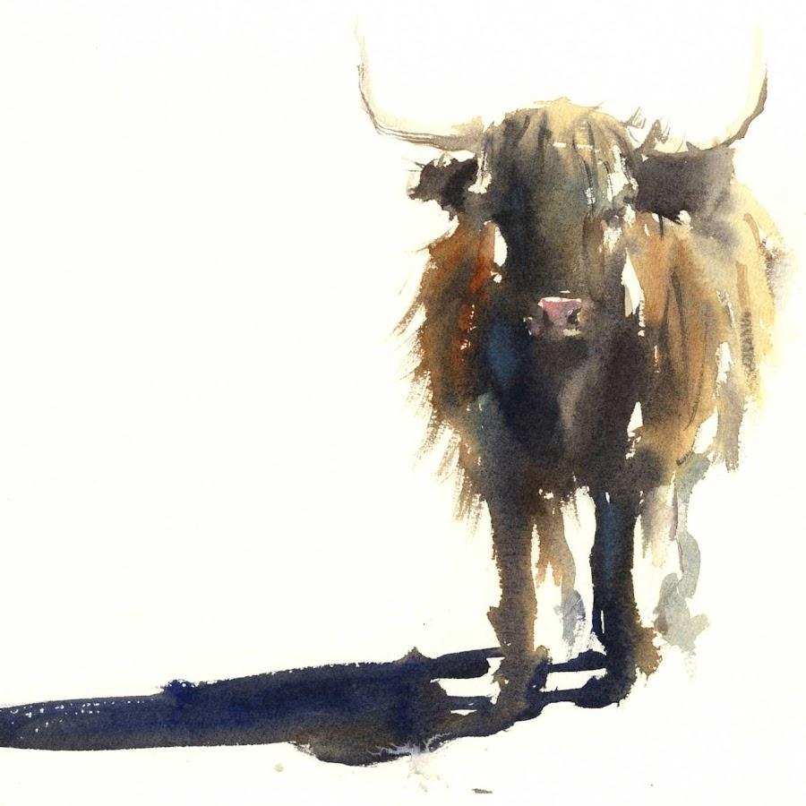 Highland cow art watercolour