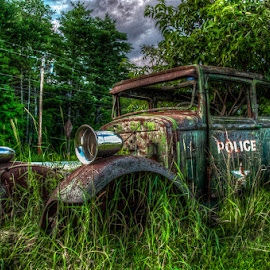 Paddy Wagon by Chris Cavallo - Transportation Automobiles ( keystone cop, old car, police, paddy, wagon, rusty, rust, antique, decay, abandoned )