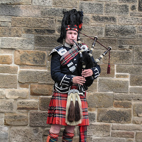 Scottish Piper by Judy Smith - Novices Only Portraits & People ( bagpipes, streetperformer, edinburgh, musician, scotland )