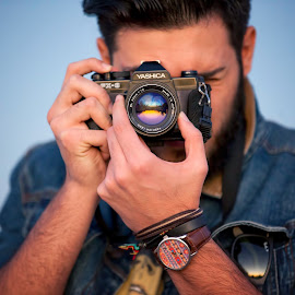 Capture the moment .. by Mohamed El-bosifi - People Portraits of Men ( hands, blue, moment, camera, men, man )