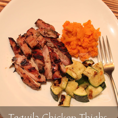 Tequila Rosemary Chicken Thighs with Parmesan Zucchini and Baked Sweet Potato