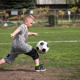Upcoming Striker by Garry Dosa - Babies & Children Children Candids ( child, person, ball, april, 2015, kamloops, sports, running, people, soccer )
