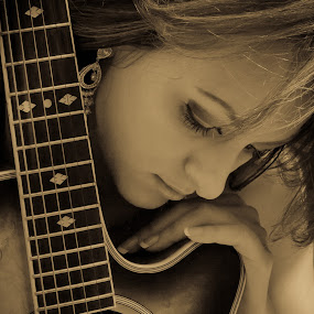 Wishing.... by Bryn Graves - People Portraits of Women ( music, sepia, woman, guitar, portrait, best female portraiture,  )