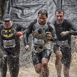 Batman & Co. by Marco Bertamé - Sports & Fitness Other Sports ( water, 1263, splatter, splash, differdange, number, yellow, soup, running, luxembourg, muddy, strong, 367, determined, three, brown, trio, batman, 1175, strongmanrun, 2105, man )