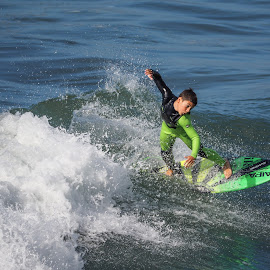 Surfer Boy by Jose Matutina - Sports & Fitness Surfing ( water, surfing, orange county, surfer, california, sport, pacific, sea, ocean, huntington beach, boy, olympus )