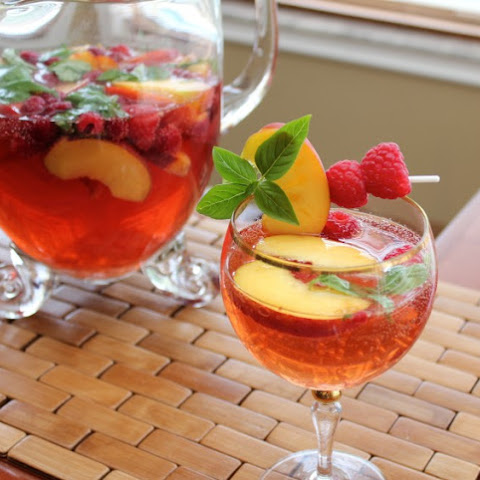 White Summer Sangria with Basil, Peach and Raspberry