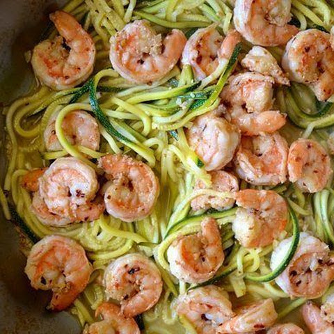 Weight Loss, Green spaghetti squash zucchini with shrimp