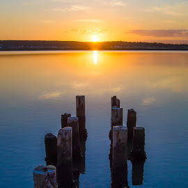 Dilapidated jetty sunrise  by Cindy Bester - Buildings & Architecture Bridges & Suspended Structures ( sky, sunrise, jetty, sun, river )