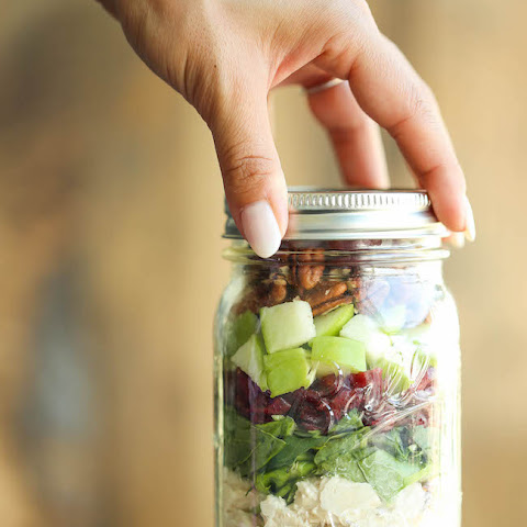 Chicken, Apple and Pecan Salad in a Jar