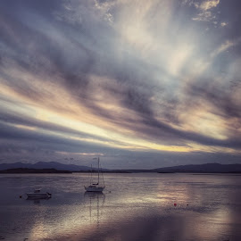 Silver Skies by Deborah Lister - Instagram & Mobile iPhone ( scotland, sky, waterscape, sunset, silver, sea, ocean, landscape, boat, skies )