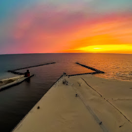 Aerial sunset by Jeffrey Genova - Landscapes Beaches ( lighthouse, ocean, sunset, beach, water,  )