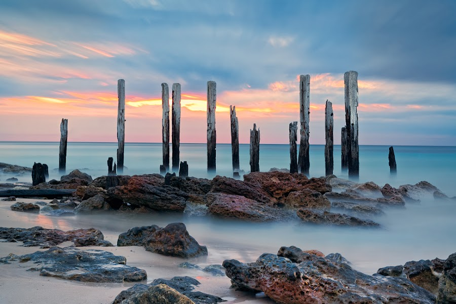 Old Jetty Port Willunga by Zdenka Rosecka - Landscapes Waterscapes