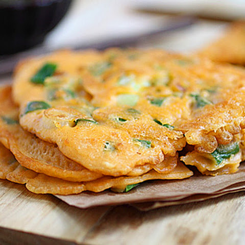 Korean Scallion Pancake With Shrimp, Bacon, And Kimchi Recipes ...
