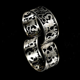 Silver on Black by Bob Guanti - Artistic Objects Jewelry ( bracelet, reflection, sillver, stacking, image, jewelry, black )
