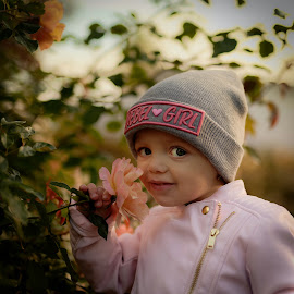 With rose... by Michaela Firešová - Babies & Children Child Portraits ( rose, girl, portrait )