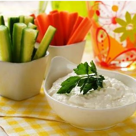 Healthy Cucumber and Carrot Sticks in Ranch Dip Snack