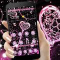 Free Pink Black Diamond Glitter Hearts Theme APK for Windows 8