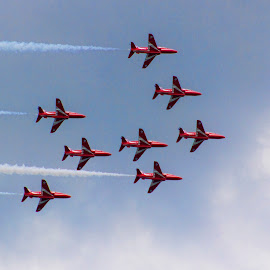 Reds Edit 7 by Kelly Murdoch - Transportation Airplanes ( clouds, red arrows, uk, display, jets, ztam, flight, england, reds, sky, air, raf, jet )