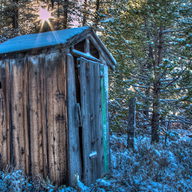 Not in Service by Mike Lee - Buildings & Architecture Decaying & Abandoned ( building, structure, hdr, sun burst, sunset, snow, out house, outdoors, forest, architecture, high dynamic range, sun, structures )