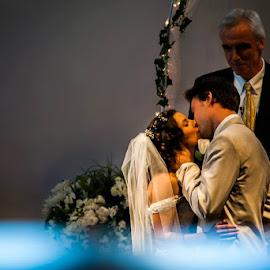 First Kiss  by Dylan Dybdal - Wedding Bride & Groom ( kiss, kissing, dress, wedding, fall )