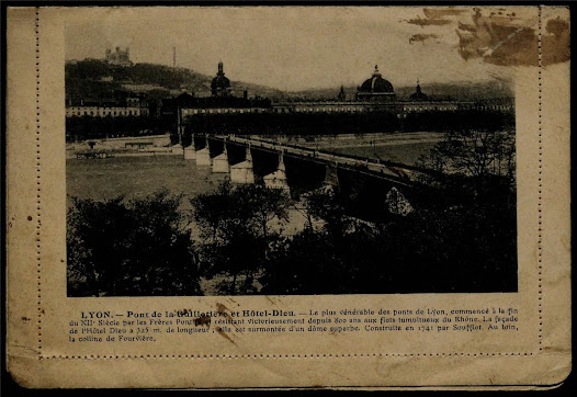 Russel S. Flynn sent a postcard to his mother from Lyon, France in late 1918.