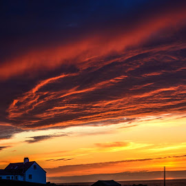 by Sharon Davies - Novices Only Landscapes ( clouds, orange, sky, red, sunset, dramatic )