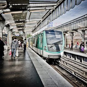 Line No. 2 by Dee Zunker - City,  Street & Park  Street Scenes ( paris, metro, train, france, people )