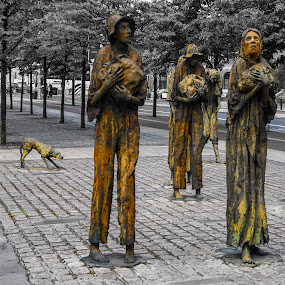 The Potato Famine Memorial by Terry Scussel - City,  Street & Park  City Parks ( the great famine, irish potato famine, custom house quay )