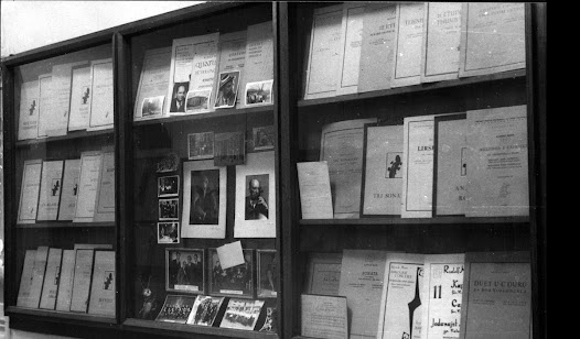 This is a display of Matz's published musical pieces.  It conveys some of the extent of Matz's body of work.  Many photographs of Matz are also included.