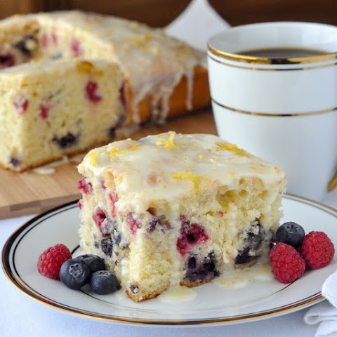 Lemon Drizzle Cake with Raspberries & Blueberries