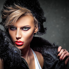 Girl with coat by Miroslav Potic - People Portraits of Women ( fashion, blonde, girl, dramatic, beauty, exotic, coat )