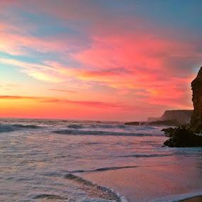by Derek Gibbins - Instagram & Mobile iPhone ( sand, cliffs, waves, sunset, beach )