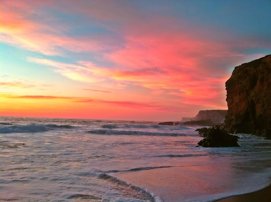 by Derek Gibbins - Instagram & Mobile iPhone ( sand, cliffs, waves, sunset, beach )