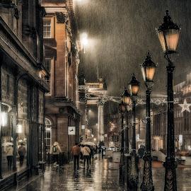 Grey Street by Adam Lang - City,  Street & Park  Historic Districts ( rain, street, grey street, tyneside, newcastle )