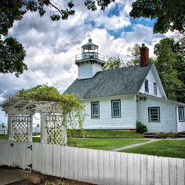 Storm Rolling In at Old Mission Point by Betty Arnold - Buildings & Architecture Other Exteriors ( building, old mission point lighthouse, lighthouse, michigan lighthouse, great lakes lighthouse )
